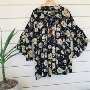 Flowy floral print tunic